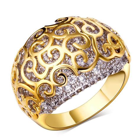 gold ring with cubic zircon rings new style