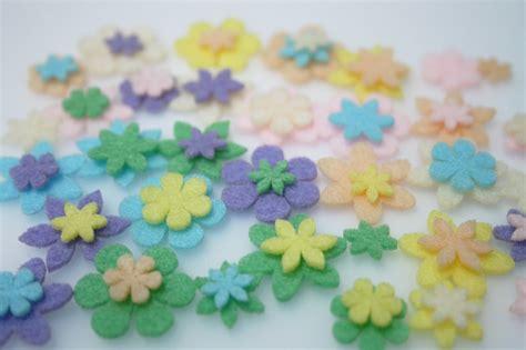 mini felt flowers pastel 63 piece set felt