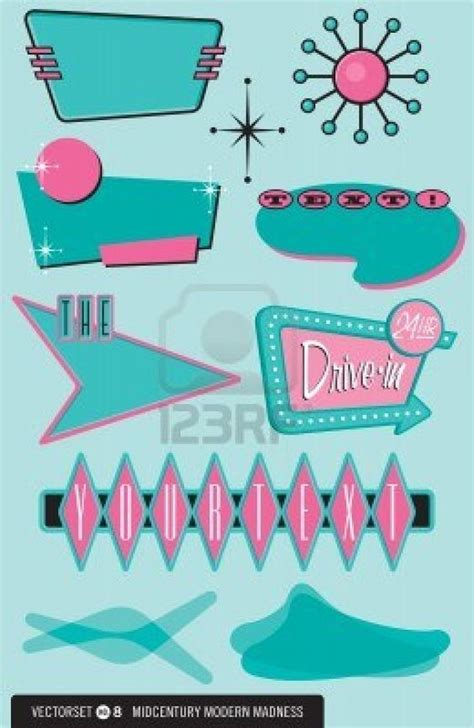50s design 12489716 set of 10 retro 1950s style design elements for