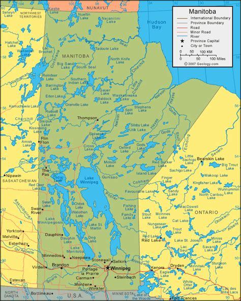 canada lakes map manitoba map satellite image roads lakes rivers cities