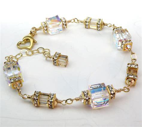 Handcrafted Swarovski Jewelry - custom wedding bracelet swarovski cube rhinestones