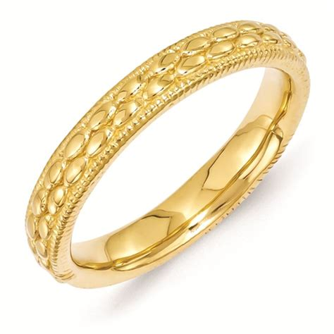 sterling silver stackable gold plated patterned ring