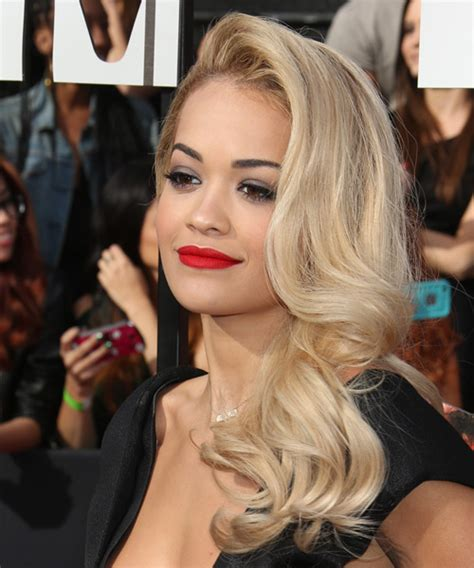 Rita Ora Long Wavy Formal Hairstyle   Light Blonde