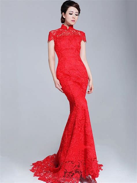 Wedding Qipao by Lace Fishtail Cheongsam Qipao Wedding Dress