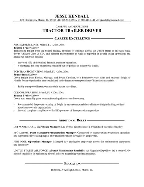 resume templates truck driver objective sle for 17