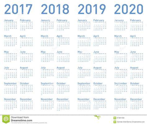Calendario 2018 Y 2019 Vector El Calendario Azul Por A 241 Os 2017 2018 2019 Y 2020