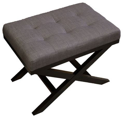 X Leg Ottoman Upholstered X Leg Ottoman Charcoal Grey Contemporary Footstools And Ottomans