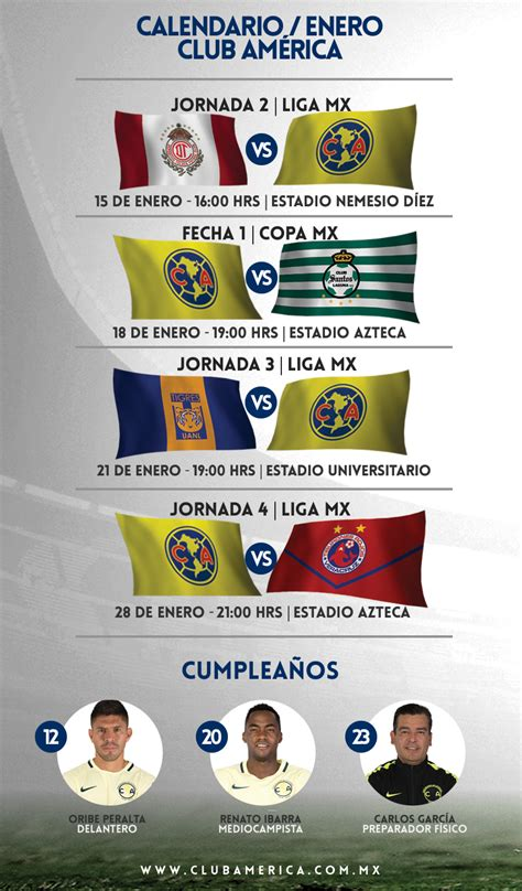 Calendario Liga Mx Club America Calendario Enero 2017 Club Am 233 Rica Sitio Oficial