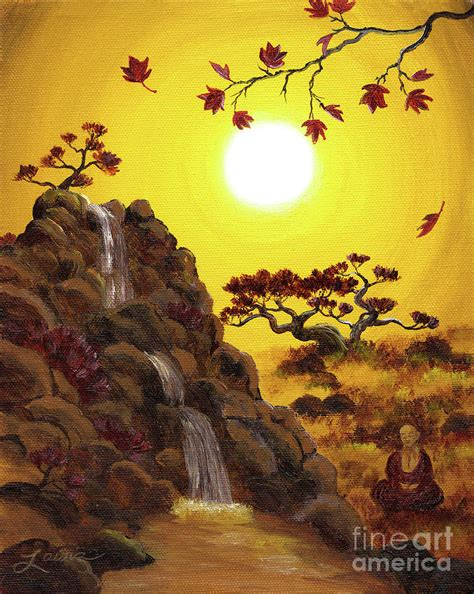 meditating by a golden waterfall painting by laura iverson