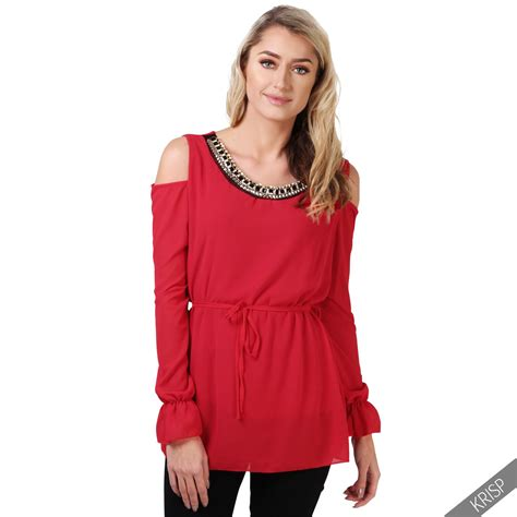 Top Blouse womens cold shoulder chiffon blouse top cut out belted tunic shirt ebay