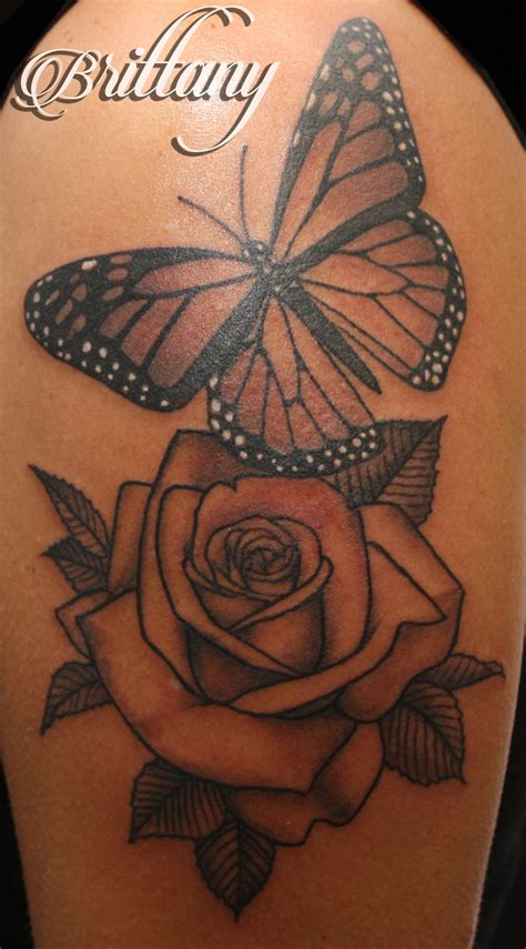 rose tattoo with butterfly butterfly monarch butterfly black and grey