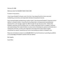 Reference Letter For Infant Letter Of Recommendation For Child Care Best Template