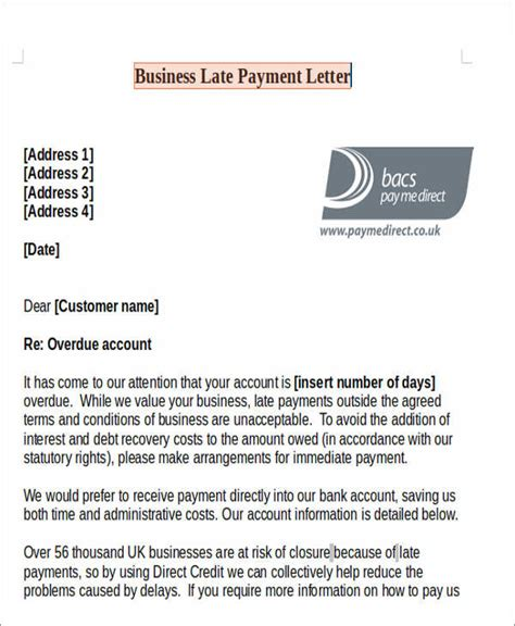 Agreement Letter For Late Payment Late Payment Letter Free Premium Templates