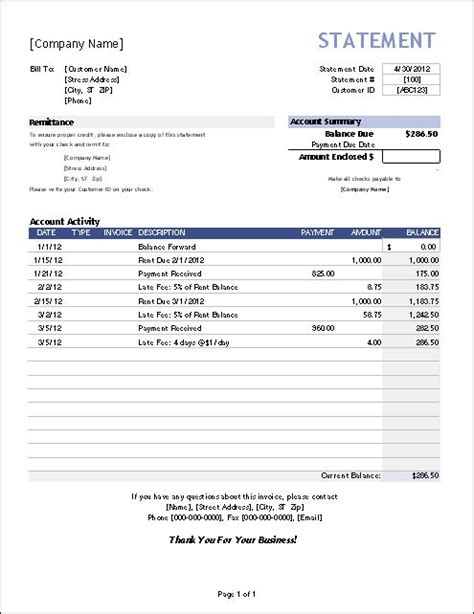 Download A Billing Statement Spreadsheet For Excel And Use It For Invoice Tracking Billing Or Balance Due Invoice Template