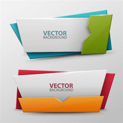 Origami Banner Vector - colored origami banner shiny vector 10 welovesolo