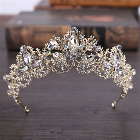 Wedding Hair Accessories Light by Light Gold Baroque Luxury Bridal Crown Tiara