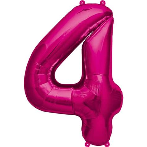 Pink Foil Balloon Z pink number 4 foil balloon 16 inches 41cm partyrama