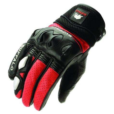 motorcycle gloves buffalo 322 leather sports summer vented motorbike