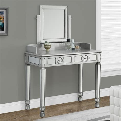 Mirrored Make Up Vanity by Monarch Specialties Brushed Silver Bedroom Vanity Mirror
