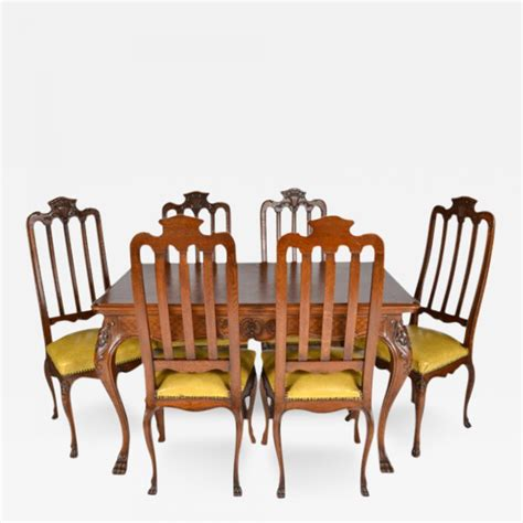 Antique Oak Dining Table And Chairs Antique Louis Xiv Oak Dining Table And Six Chairs