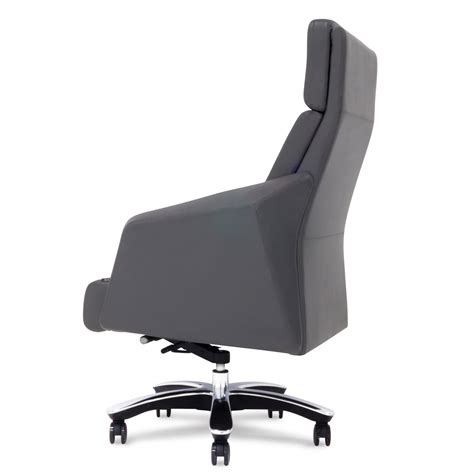 gray leather executive office chair genuine leather aluminum base high back executive