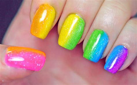tutorial nail art rainbow rainbow nails sponge gradient youtube