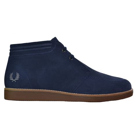 fred perry mens boots fred perry s carbon blue southall mid boot
