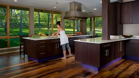 Black Cabinet Kitchen Designs modern kitchen with dark cabinets and view of greenery