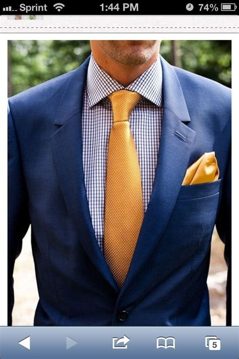 Navy Suit with Yellow Tie   Wedding Day   Mens fashion