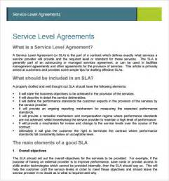 service level agreement template sle service agreement 7 exle format