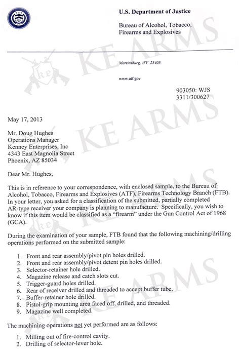 Letter Atf Ar 15 Atf Letter Of Determination