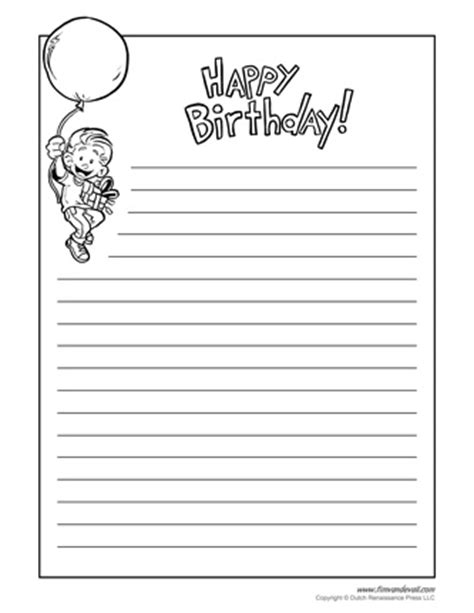 birthday writing paper tim de vall comics printables for