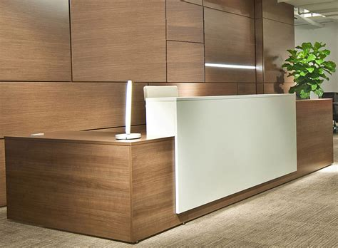 custom l shaped desk contrasts custom l shaped lobby desk right return