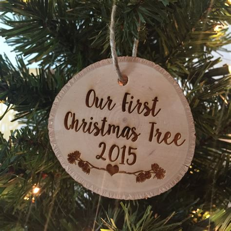 our first christmas tree ornament tree slice christmas