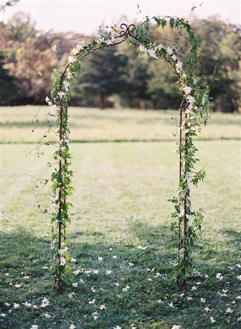 simple elegant wedding ceremony arch ideas   Once Wed