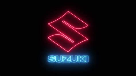 suzuki logo  neon lights stock footage video