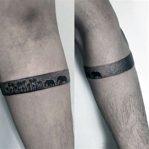 tattoo arm bands for men small simple amband on with elephants and palm