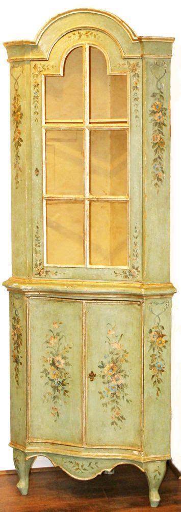 Hand Painted Cabinets Antique Venetian Hand Painted Corner Cabinet Showcase