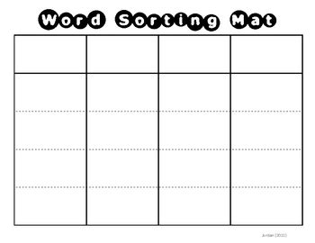 word sort templates word sorting mat card template spelling patterns