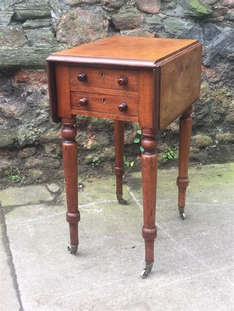 small side table with drawer uk c19th small mahogany two drawer side table 465078