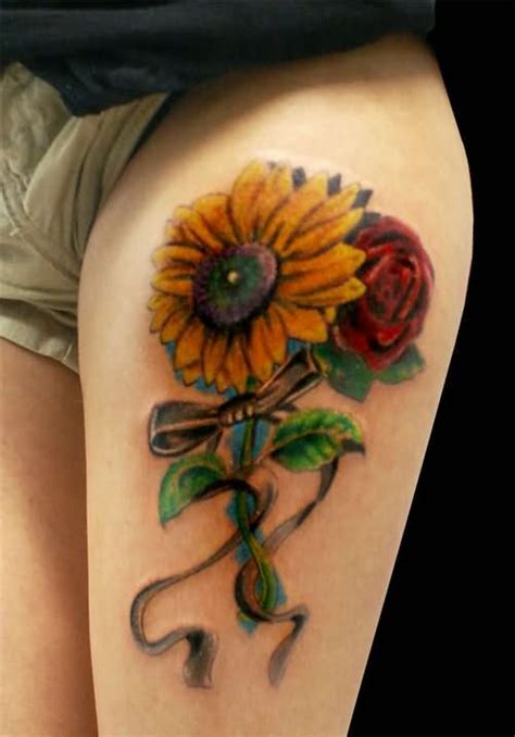 sunflower and rose tattoo sunflower tattoos tattoostime
