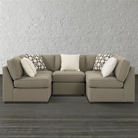 walnut finish u shaped sectional