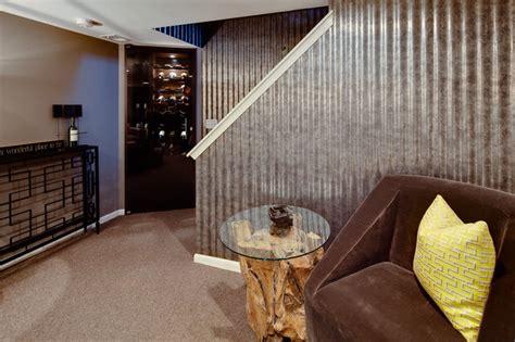stunning industrial basement design
