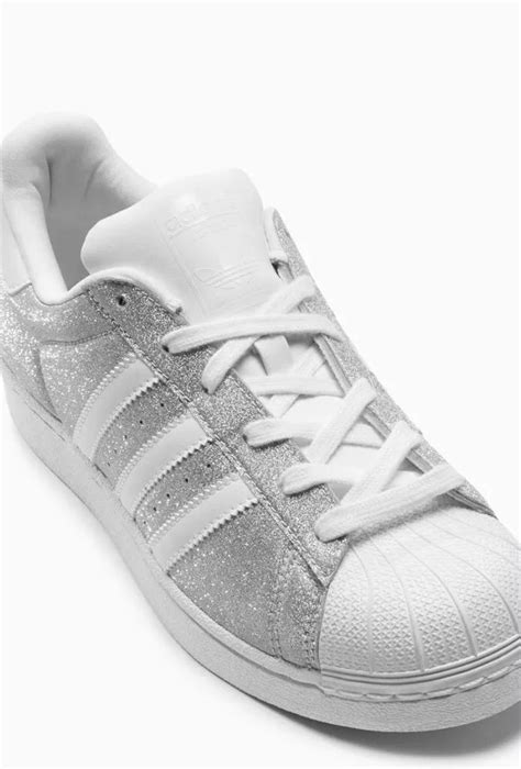 adidas originals womens superstar glitter size 5 grey silver