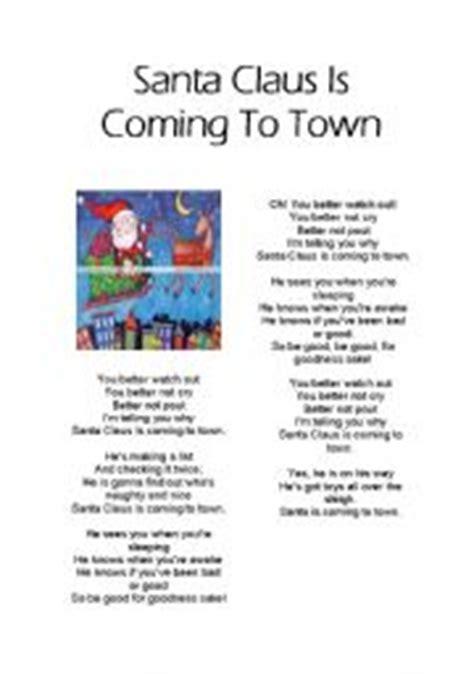 printable lyrics to santa claus is coming to town english teaching worksheets santa claus