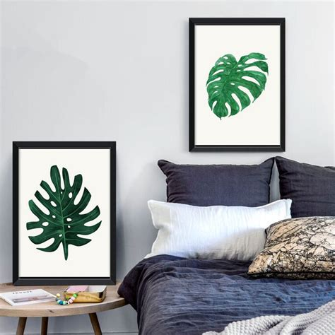 green leaf monstera plants quote modern poster canvas