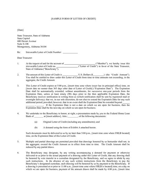 Sle Letter Of Credit Format Format Of Letter Of Credit Best Template Collection
