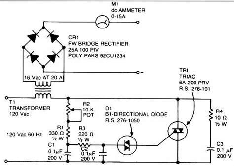 triac diagram gt circuits gt accu charger use a diac and triac schematic