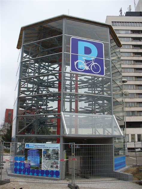 fully automated bicycle parking tower in republic