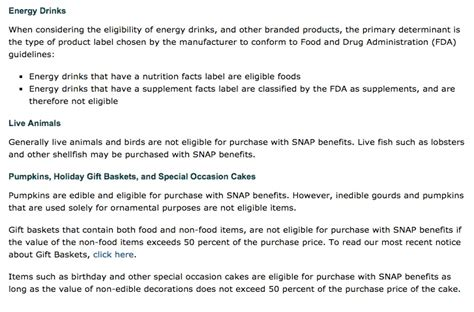 can u buy energy drinks with ebt list of eligible food st items food sts help